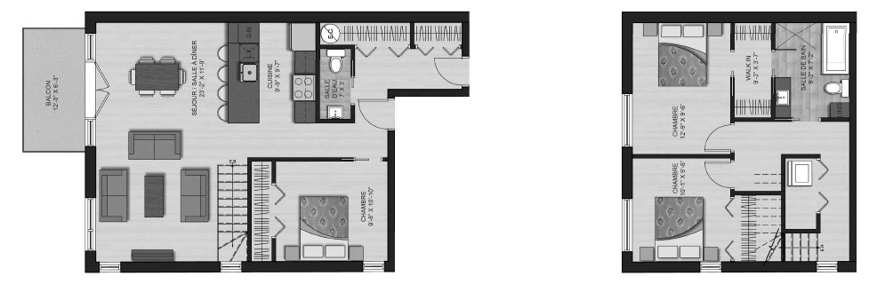 Plan Sud-Ouest Pointe-St-Charles Rushbrooke available unit plan